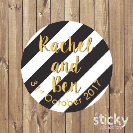 Personalised Wedding Stickers - Black and White Design